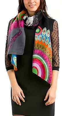 New Desigual Multicoloured Geometric Butterfly Print Scarf