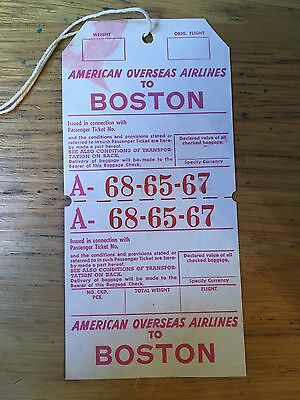 AMERICAN OVERSEAS AIRLINES 1940s Baggage Check Label Boston