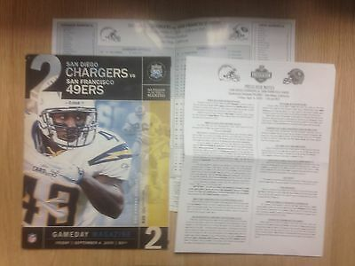 2009 San Diego Chargers v San Francisco 49ers - NFL inc Roster Card/Press Notes