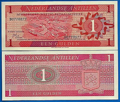 Netherlands Antilles P-20 One Gulden Year 8.9.1970 Unc FREE SHIPPING