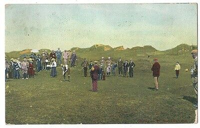 ST ANDREWS Golf, Golfing on the Links, Postcard by W&AK Johnston, Posted 1908