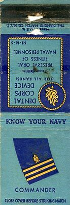 Know Your Navy, Commander, Dental Corps Device Matchbook