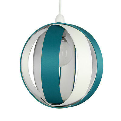 Modern Round Cream & Teal Layered Ceiling Pendant Light Lamp Shade Lampshade NEW