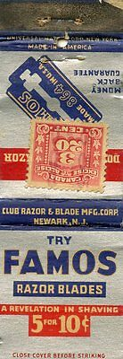 Famos Razor Blades, Canada Exiise Tax Stamp Matchbook
