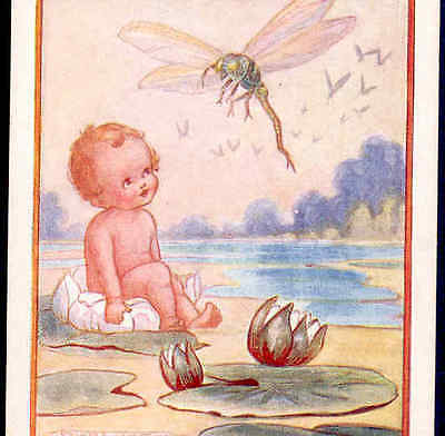 "Scarce...""water-Babies"" Fairy Tale,baby Talks To Dragonfly,f. White Postcard"