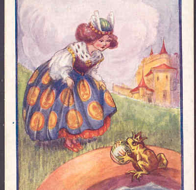 "Scarce..!.""frog Prince"" Fairy Tale,princess Kisses Frog,castle,f. White Postcard"