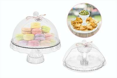 Plastic Birthday Cake Cupcake Cookie Muffin Display Serving Plate with Dome Lid
