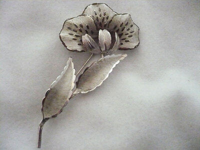 Vintage Boyd Bond Canada sterling silver etched flower brooch brooches pin