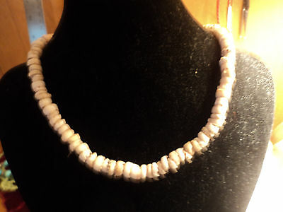 """HAWIIAIN  8.6 mm TIGER PUKA SHELL 17.5 """" NECKLACE 1962"""