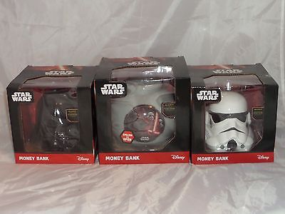 Disney Star Wars The Force Awakens Money Bank Box Ceramic 3D head Bookends NEW