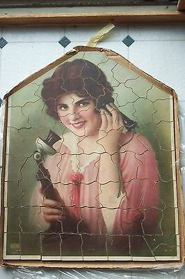 Large 1924 Wood Jigsaw Puzzle Beautiful Woman On Candlestick Telephone