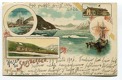Norway Spitsbergen 1906 Local Post Stamp10 Øre on Litho postcard,very rare!!