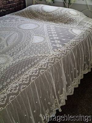 """Most Exquisite ANTIQUE FRENCH Normandy LACE Coverlet Orig Paper Label! 108x90"""""""