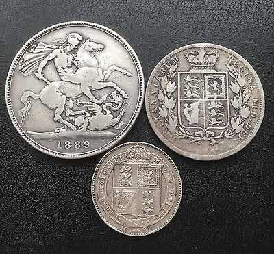 Lot of 3 Great Britain Sterling Silver Victorian Coins - VG to F