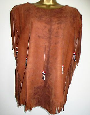 New - Authentic Native American Handcrafted Leather Tassel Tunic Top - 14 / 16