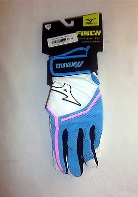 Mizuno Finch Women's Fastpitch Softball Batting Gloves NEW 330354 White/Blue XS