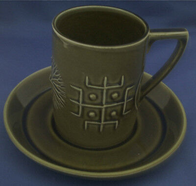 LOVELY 1960's DARK GREEN PORTMEIRION TOTEM PATTERN COFFEE CUP & SAUCER