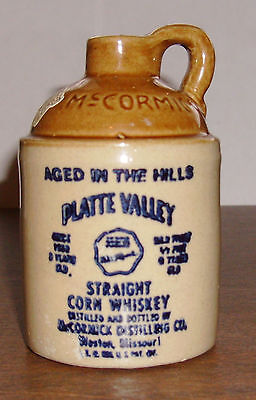 McCormick Platte Valley Straight Corn Whiskey Stoneware Jug 1/2 Pint Empty