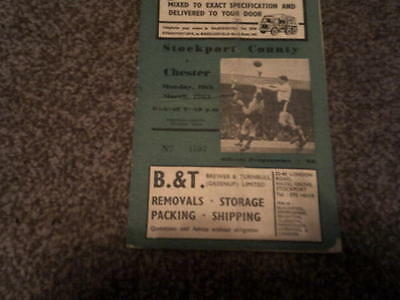 STOCKPORT COUNTY v CHESTER 18 MARCH 1962