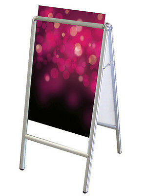Double Sided A-Frame Poster Stand Street Snap Sign Sidewalk Display Holder