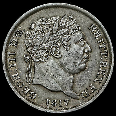 1817 George III Milled Silver Shilling – RRITT and Unbarred H Error