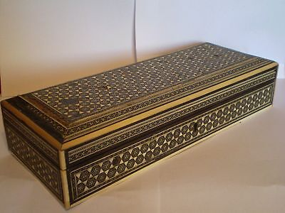 Vintage Antique, Wooden Box With Indian Design, Would Make Ideal Jewellery Box