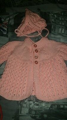 baby knitted cardigan & bonnet