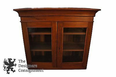 Antique Early American Style Walnut Hutch Cabinet Top W/ Original Glass Bookcase