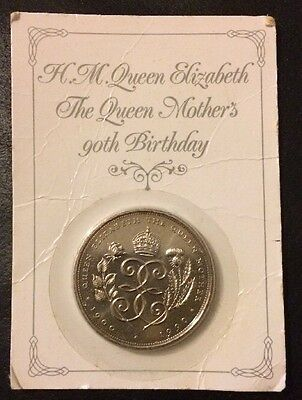 UK 1990 Queen Mother's 90th Birthday Five Pound Crown Coin -Presentation Card £5