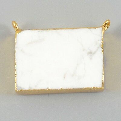 Rectangle Gold Plated White Howlite Turquoise Connector Double Bails T019076
