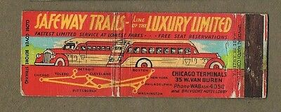 Safeway Trails Buses Chicago Ill Full Length Matchcover A330