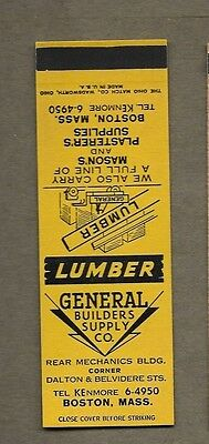 General Builders Supply Co Boston Mass Flat Matchcover A417