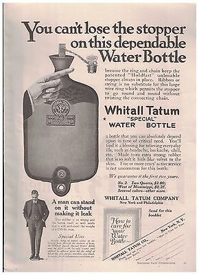 1916 Whitall Tatum Special Water Bottle With Holdfast Unlosable Stopper Ad