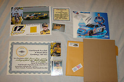 Matt Kenseth Lot of Autograph Signed Collectable,Card,Sheetmetal P/P Signing Pic