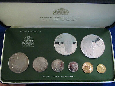 1977 Guyana 8 Coin Proof Set - Sealed with Case & COA - Free U S Shipping