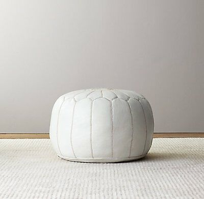 Premium Luxury Moroccan Leather Ottoman Pouffe Pouf Footstool In White