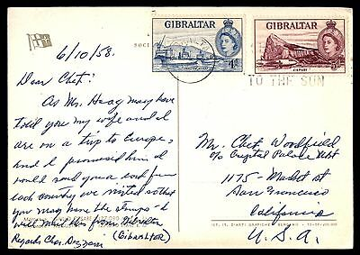 Gibralter colorful franking TO the sun cancel postcard to USA