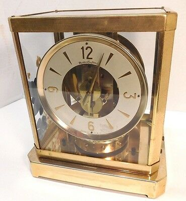 Mastercrafters Clock Model 308 Atmos Style Mantel Clock Vintage Brass and Glass