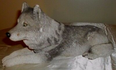Sandicast Original Size Gray Wolf Sculpture Lying Gray Wolf - Lying # 300