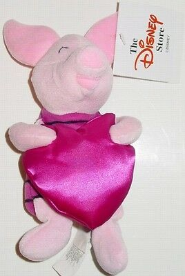 "Disney Store UK 1999 Valentine's Day PIGLET 8"" MBBP MWMT Mini Bean Bag Plush Toy"