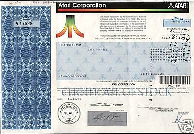 Rare Mint Orig Atari Stock Iss To Founder Jack Tramiel! His Own Shares! Cv $500