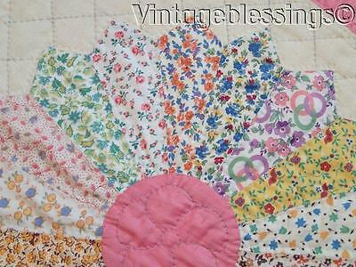 Pretty and Never Used! Vintage Dresden Plate QUILT Signed Margaret 1941 88x78""