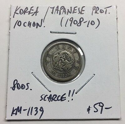 Korea / Japanese Prot. 10 Chon (1908-1910) Km#1139 - Scarce Coin !