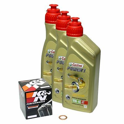 Honda CBR 600 RR, 03-15, PC37 PC40; Castrol Power1 10w40 Öl; K&N Ölfilter Set