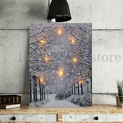 LED Tree Snow Lighted Canvas Picture Print Home Wall Art Hanging Decoration