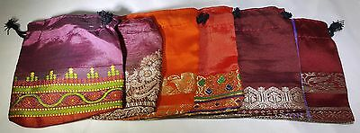 Lot of 6 3x3 Indian Saree Handmade Gift Bags Sari Jewelry Ring Earring Hand Sewn