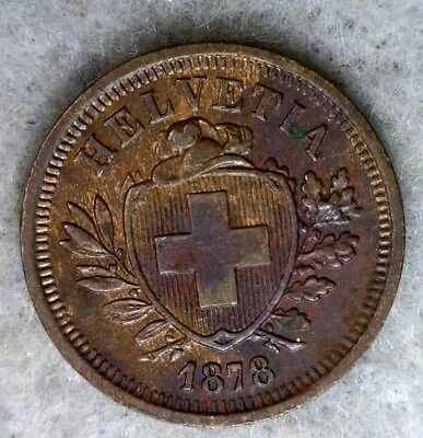 SWITZERLAND RAPPEN 1878 ABOUT UNC SWISS COIN (stock# 0577)
