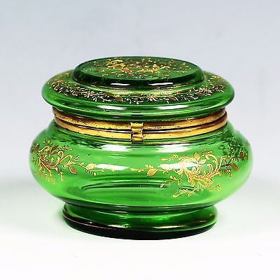 Antique Victorian Moser Green gold enameled art glass hinged trinket jewelry BOX