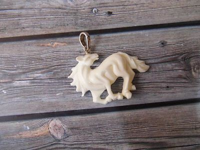 Pendant Necklace Horse From Buffalo Bone Carved w/ Silver 925_b303