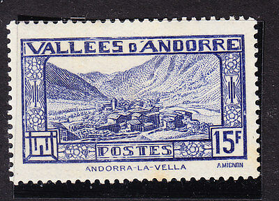 Andorra 1932 La Vella - 15f Blue F78 Mint Never Hinged